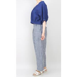 アコーレ ブルー半袖スキッパーショート丈ブラウス|femme|09