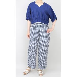 アコーレ ブルー半袖スキッパーショート丈ブラウス|femme|10