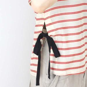 センソユニコ 赤ボーダーサイドリボン半袖ブラウス|femme|13
