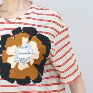 センソユニコ 赤ボーダーサイドリボン半袖ブラウス|femme|14