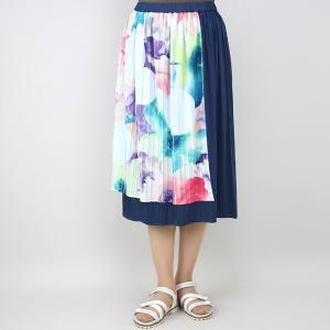 佐藤繊維 M&KYOKO 水彩プリント柄ラップ風プリーツスカート|femme