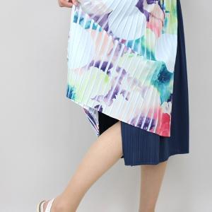 佐藤繊維 M&KYOKO 水彩プリント柄ラップ風プリーツスカート|femme|11