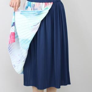 佐藤繊維 M&KYOKO 水彩プリント柄ラップ風プリーツスカート|femme|12