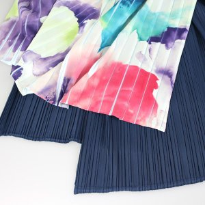 佐藤繊維 M&KYOKO 水彩プリント柄ラップ風プリーツスカート|femme|16