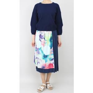 佐藤繊維 M&KYOKO 水彩プリント柄ラップ風プリーツスカート|femme|06