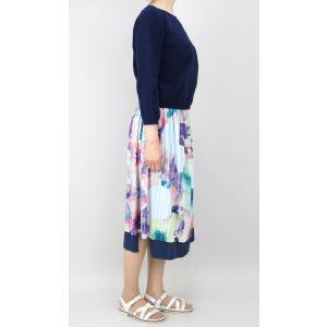 佐藤繊維 M&KYOKO 水彩プリント柄ラップ風プリーツスカート|femme|07