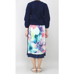佐藤繊維 M&KYOKO 水彩プリント柄ラップ風プリーツスカート|femme|08