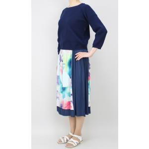 佐藤繊維 M&KYOKO 水彩プリント柄ラップ風プリーツスカート|femme|09