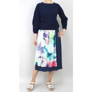 佐藤繊維 M&KYOKO 水彩プリント柄ラップ風プリーツスカート|femme|10