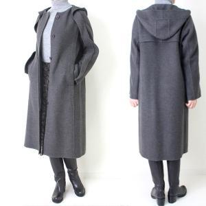 ヒロココシノ HIROKO KOSHINO グレーフード付きロングコート|femme