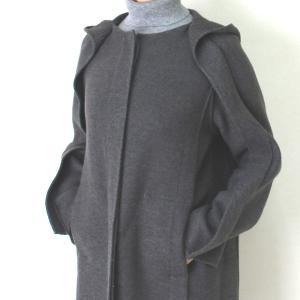 ヒロココシノ HIROKO KOSHINO グレーフード付きロングコート|femme|12
