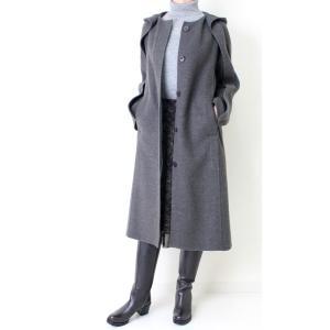 ヒロココシノ HIROKO KOSHINO グレーフード付きロングコート|femme|08
