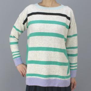 MARCCAIN マークケイン グリーンボーダー丸首セーター|femme