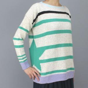 MARCCAIN マークケイン グリーンボーダー丸首セーター|femme|02