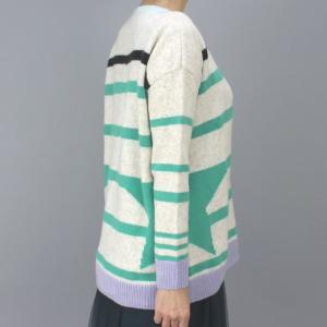 MARCCAIN マークケイン グリーンボーダー丸首セーター|femme|03
