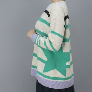 MARCCAIN マークケイン グリーンボーダー丸首セーター|femme|05