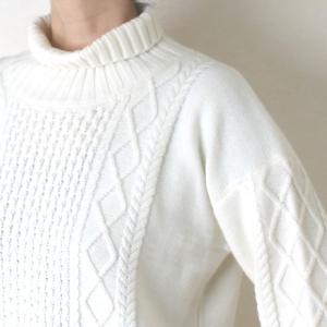 Apaiser lame(アぺゼラム)アラン編み柄ベルスリーブタートルセーター|femme|13