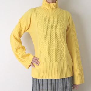 Apaiser lame(アぺゼラム)アラン編み柄ベルスリーブタートルセーター|femme|17