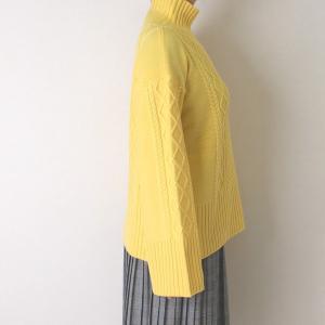 Apaiser lame(アぺゼラム)アラン編み柄ベルスリーブタートルセーター|femme|18