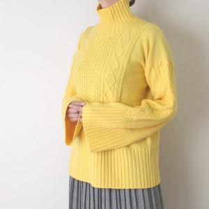 Apaiser lame(アぺゼラム)アラン編み柄ベルスリーブタートルセーター|femme|20