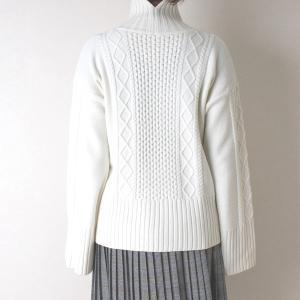 Apaiser lame(アぺゼラム)アラン編み柄ベルスリーブタートルセーター|femme|04