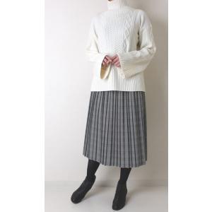 Apaiser lame(アぺゼラム)アラン編み柄ベルスリーブタートルセーター|femme|09