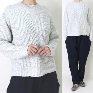 コテラック ライトグレー編地切替セーター|femme