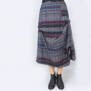 センソユニコ i+mu グレーチェック柄デザインスカート|femme