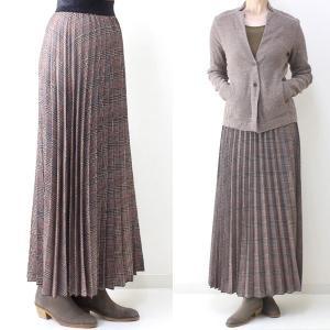 茶チェックプリーツマキシスカート|femme