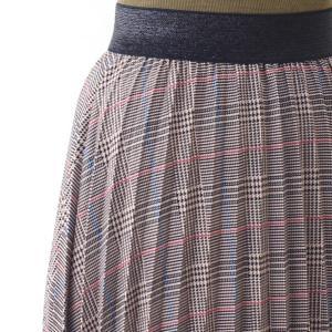 茶チェックプリーツマキシスカート|femme|12