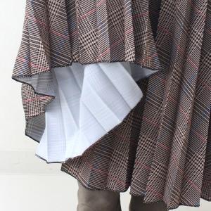茶チェックプリーツマキシスカート|femme|13