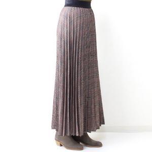 茶チェックプリーツマキシスカート|femme|03