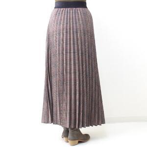 茶チェックプリーツマキシスカート|femme|04