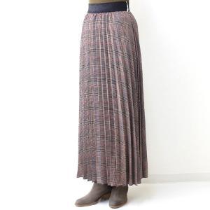 茶チェックプリーツマキシスカート|femme|05