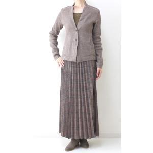 茶チェックプリーツマキシスカート|femme|06