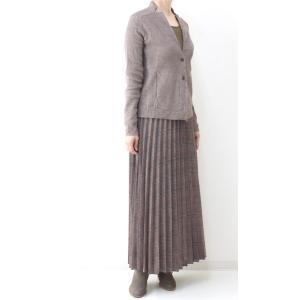 茶チェックプリーツマキシスカート|femme|07