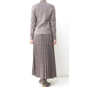 茶チェックプリーツマキシスカート|femme|08