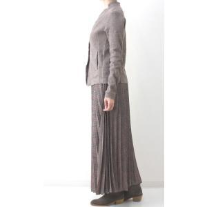 茶チェックプリーツマキシスカート|femme|09
