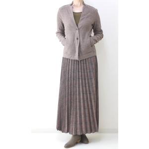 茶チェックプリーツマキシスカート|femme|10