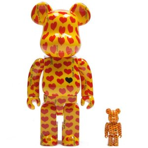 ベアブリック Bearbrick フィギュア x japan hide yellow heart 100% 400% bearbrick figure set yellow|fermart-hobby