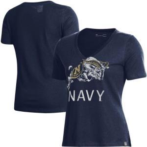 アンダーアーマー Under Armour レディース Tシャツ Vネック トップス Navy Midshipmen Logo Performance V-Neck T-Shirt - Navy|fermart-hobby