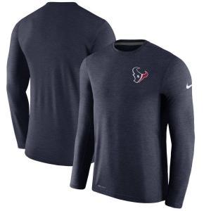 ナイキ Nike メンズ 長袖Tシャツ トップス Houston Texans Sideline Coaches Long Sleeve Performance T-Shirt - Navy|fermart-hobby