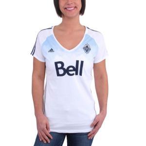 アディダス adidas レディース Tシャツ Vネック トップス Vancouver Whitec...