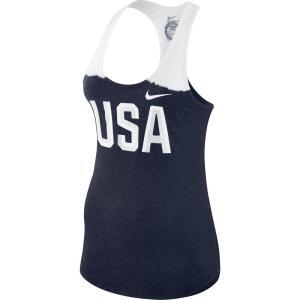 ナイキ Nike レディース タンクトップ トップス Team USA Graphic Logo Tri-Blend Tank Top - White/Navy|fermart-hobby