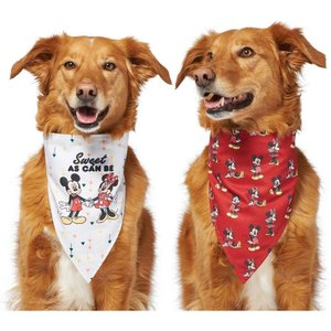 Disney ディズニー ペットグッズ 猫用品 首輪・カラー Mickey Mouse & Minnie Mouse Sweet As Can Be Reversible Dog & Cat Bandana|fermart-hobby