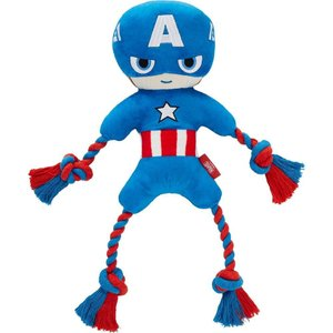 Marvel マーベル ペットグッズ 犬用品 おもちゃ 's Captain America Plush with Rope Squeaky Dog Toy|fermart-hobby