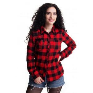 アーバンクラシックス Urban Classics レディース ブラウス・シャツ トップス - Turnup Checked Flanell Black/Red - Shirt red fermart-hobby