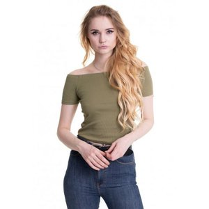 アーバンクラシックス Urban Classics レディース Tシャツ トップス - Off Shoulder Rib Khaki - T-Shirt green fermart-hobby