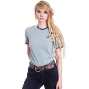 フレッドペリー Fred Perry レディース Tシャツ トップス - Twin Tipped Pique Silver Blue - T-Shirt blue|fermart-hobby
