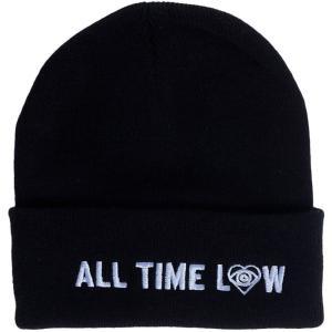 オール タイム ロウ All Time Low ユニセックス ニット 帽子 Blue Logo Beanie black|fermart-hobby
